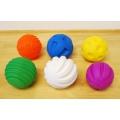 6 bløde plastbolde m/forskellige tekstur